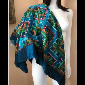Abstract Design 100% Silk Large Scarf/Wrap